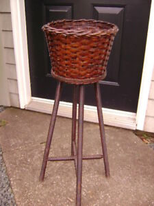 Antique Woven Plant Stand