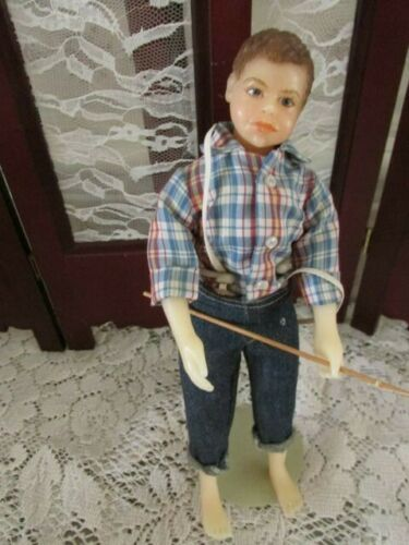 "Tom Sawyer, 10"" Resin doll, Nice Condition, clothes nice, fishing pole"