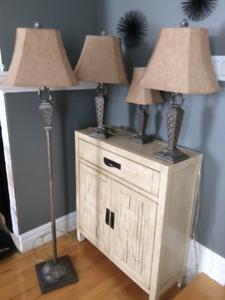 ENSEMBLE DE 4 LAMPES (sur pied et bureau)