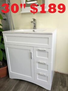 "BATHROOM VANITY 30""  $ 189.      SHOWER DOOR"