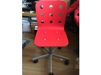 Ikea office chair base with kids red seat Used