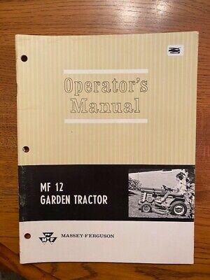 Massey Ferguson Mf 12 Lawn Garden Tractor Mower Operators Owners Manual