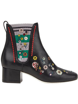 NIB Fendi 40 US 10 Embroidered Marie Antionette Booties Flowers $1100 Boots