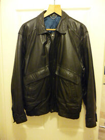 Mens Smart Casual Zip Up Bomber Style Jacket In Very Soft Black Leather. Medium 38-40. Cost £400 New