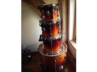 Used Tamar Rock Star drum kit 4- drums, frame, stool and drum sticks.