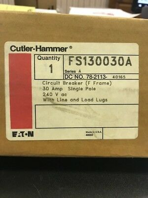 Ch Cutler Hammer Fs130030a 30 Amp 240 Volt Circuit Breaker New In Box