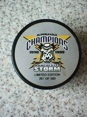 MANCHESTER STORM 1998 1999 CHAMPIONS LIMITED EDITION ICE HOCKEY PUCK BLACK