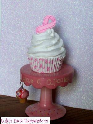 Faux CUPCAKES Fake BREAST CANCER AWARENESS inspired pink ribbon