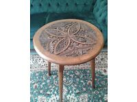 Antique Victorian Arts & Crafts Foliate Carved Solid Oak Occasional Side Table