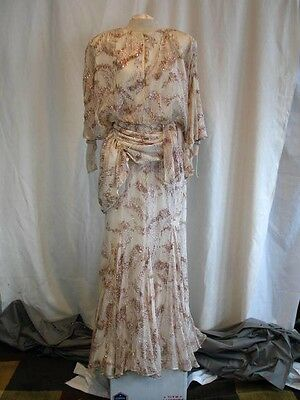 Vintage 1970's Silk Chiffon Cocktail Dress 1920's Inspired Lillie Rubin