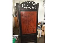 Japanese wooden inlaid screen