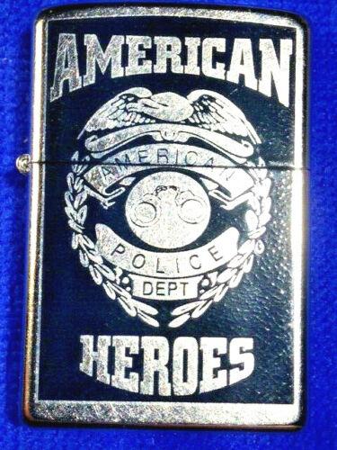 Zipp Lighter  24353 AMERICAN HEROES POLICE BADGE