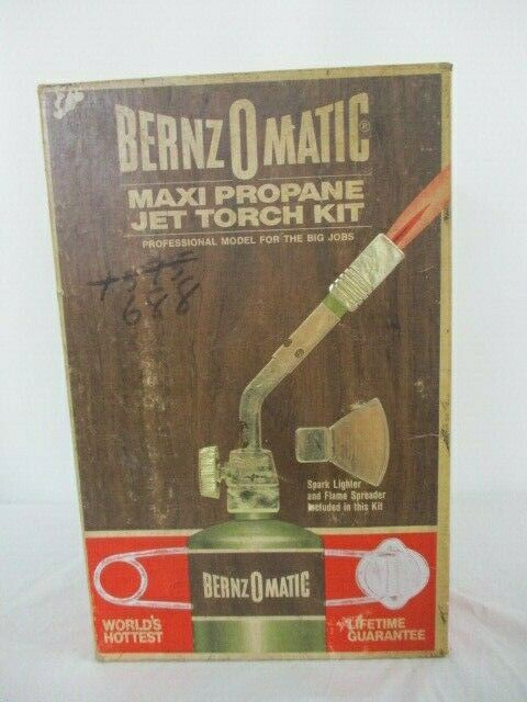 VTG BERNZOMATIC Maxi Propane Jet Torch Kit NOS W/ Metal Box & Accessories JT-88M