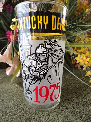 Kentucky Derby Drinking Glass 1975 Churchill Downs 5-1/4 t Vintage