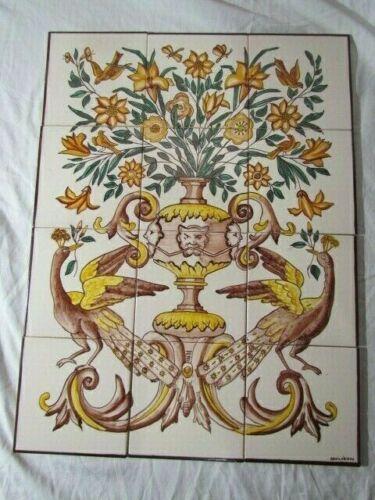 LOT 12 Vintage Portuguese? Tiles Mural Peacocks Urn Flower Argilobidos Beautiful
