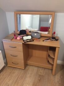 Wood effect dressing table with adjustable mirror and separate bedside table