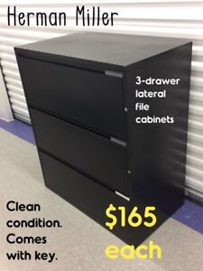 LATERAL FILE CABINETS, BLACK, 3-DRAWER, HERMAN MILLER-brand