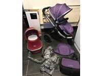 ICANDY PEACH 3 FULL PRAM 3 WHEELER ALSO PEBBLE CARSEAT COST OVER £1400