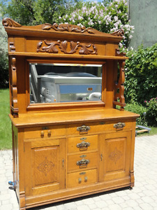 Fine antique oak buffet with mirrored hutch - PRICE REDUCED
