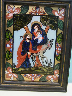 Gemälde Hinter Glas Malerei Maria Mutter Gottes Maße 24x17 cm m Rahmen 28x22 cm