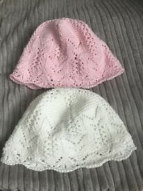2 baby girls beanie hats from next size 0-3 months