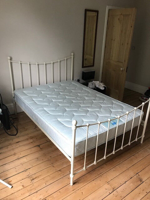 Metal Framed Double Bed With Burlington Mattress In Roundhay West