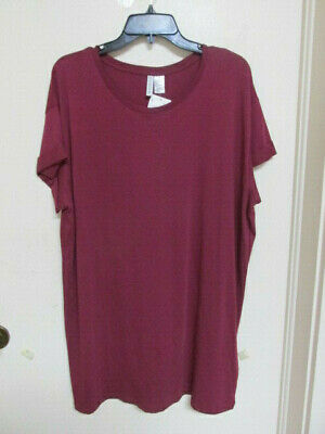 MAROON KNIT /ROUND NECKLINE/SHORT SLEEVE DRESS- Size LARGE