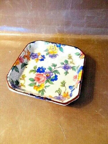 Antique Erphila Square Flowered Ceramic Dish #2658, Made in Czechoslovakia