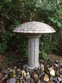 Garden Fountain - Lovely granite, column and mushroom top fountain/water feature. Very heavy.
