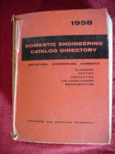 VINTAGE 1958 DOMESTIC ENGINEERING CATALOG MANY PRODUCTS ASBESTOS MORE