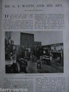 Mr G F Watts Art Artist Studio Compton Home Rare Antique Edwardian Article 1901