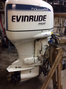 1998 Evinrude 150 hp Ocean Pro outboard motor with controls