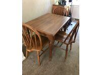 Solid oak table & 3 chairs