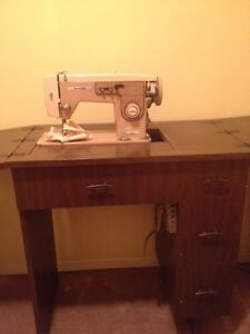 White sewing machine with table