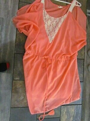 Women's Swimsuit Coverup Plus Size 2X Peach with Beige Lace Gorgeous