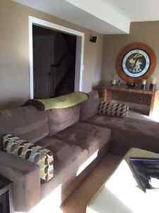 light brown sectional/storage in chaise/double bed