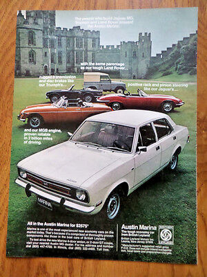 1973 Austin Marina Ad the People that Built Jauguar MG Triumph Land Rover