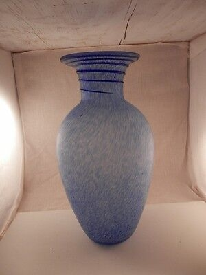 Unique Cobalt Blue twisted Glass Speckled Vase Opaque Rare 12""