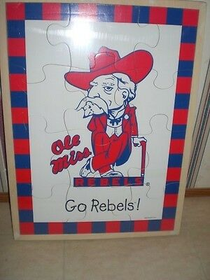 NCAA College University Football Ole Miss Rebels Baby Fanatic Real Wood Puzzle Ole Miss Rebels Wood