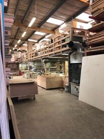 Bench spaces in furniture workshop for carpenters and joiners