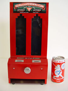 Vintage Coin Operated Vending Machine Chewing Gum Dispenser