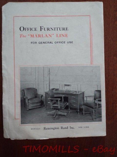 1936 Remington Rand Marlan Line of Office Furniture Catalog Brochure Vintage ORG