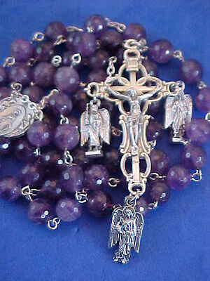 Custom AMETHYST ARCHANGEL ROSARY Michael Gabriel Raphael Silver Medal Saint 8mm - Customized Medals