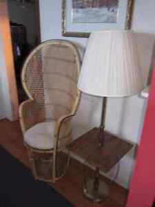 Wicker chair, Lamp with shelf, and Clock