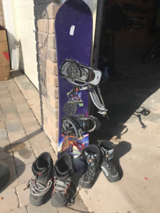 """Gently Used Snowboard Odyssey 125 -49"""" w bindings & 2 pair boots"""