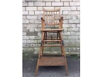 Beautiful and original wooden high chair with counting beads table