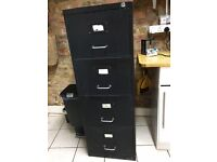 Old black filing cabinet - 4 deep drawers.