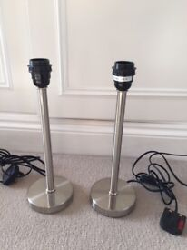 2 Stainless Steel Plain Lamps. Very good condition. collect from Fulham