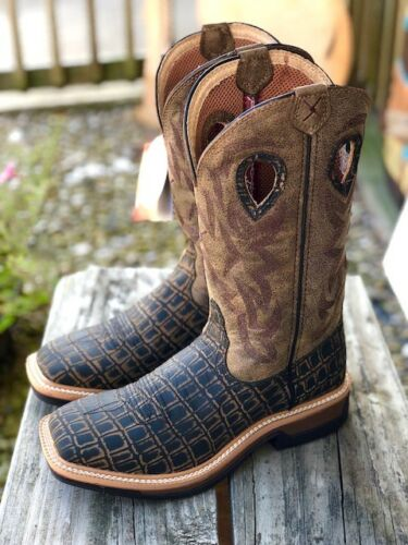 Twisted, X, Mens, Lite, Cowboy, Collection, Caiman, Print, Square, Toe, Boots, MLCW023