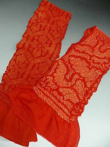 Good-Buy-2-Pcs-Antique-Red-Silk-Japanese-OBIAGE-w-SHIBORI-B560